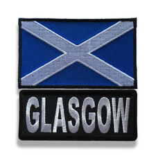 """Embroidered 3"""" Glasgow With Scotland Flag Sew or Iron on Patch Biker Patch Set"""