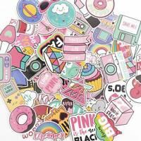 60pcs Anime Pink Stickers Decals Skateboard Car Luggage Laptop Vinyls Fashion