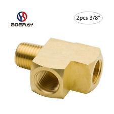 "2pcs Pipe Fitting 3/8"" NPT Female Pipe and male Pipe Brass Barstock Street Tee"