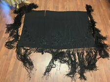 Antique 1920s Black Silk Floral Embroidered Piano Shawl with Long Fringe Trim