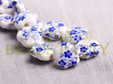 10pcs 15mm Flower Porcelain Ceramic Loose Spacer Beads Findings Royal Blue