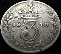 1919 GEORGE V .925 SILVER THREEPENCE 3d COIN