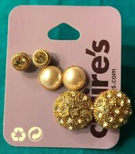 Three Pairs Claire's Rhinestone Stud White Faux Pearl Gold Half Ball Earrings