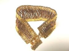 GOLD AND AMBER  MIYUKI METALLIC  PLATED BRACELET