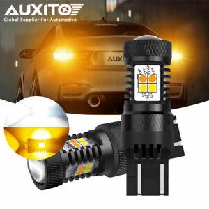 AUXITO Error Free White/Amber 7443 LED DRL Switchback Turn Signal Light Bulbs D