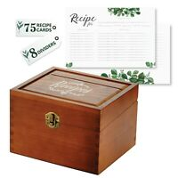 Recipe Card Box Set(beech wood) with 75 4x6 Recipe Cards + 8 Dividers - US Stock