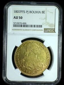 Spanish Colonial Bolivia 1807 PTS PJ Gold 8 Escudos *NGC AU-50* Value 8 Escudos