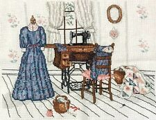 "Completed Blue Dress ""The Upstairs Sewing Room"" by Paula Vaughan Cross Stitch"