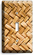 Rustic Wicker Weave Straw Pattern Single Light Switch Wall Plate Country House