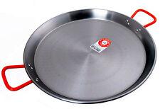 Large 60cm Carbon Steel Paella Pan. 18-20 Serves. Made in Spain.  Red Handles.