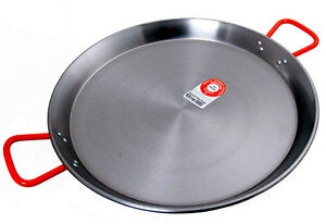 Large 55cm Carbon Steel Paella Pan. 16 Serves. Made in Spain.  Red Handles.