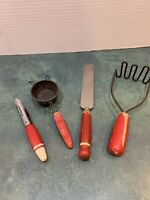 Lot of 4 Vintage Red Handle Kitchen Utensils
