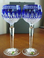 WATERFORD Crystal CLARENDON COBALT Blue Wine Hocks Set / 2  RETIRED - NEW / BOX!