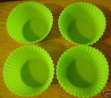 4 conjunto de Silicona Cupcake Horneado Moldes Bento verde oscuro!
