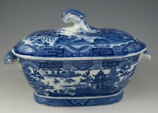 Antique Pottery Pearlware Blue Transfer Chinoiserie Bridgeless Sauce Tureen 1810