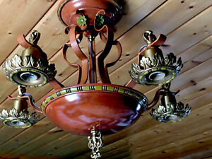 Lightolier Antique Art Deco Flush Chandelier Burnt Orange Ceiling Fixture 30s