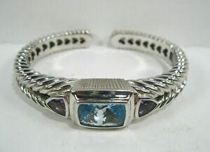 Judith Ripka Sterling Silver Amethyst Blue Topaz hinged Cuff Bracelet