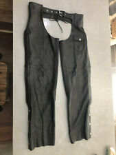 Guide Gear Leather Chaps Mens Size Large Black Unlined Stretch Lace Up & Belt