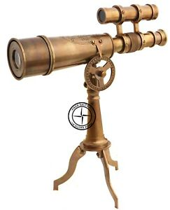 """10"""" Solid Brass Old Antique Desk Tripod Telescope Nautical Collectible Spyglass"""