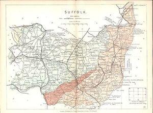 Antique map, Suffolk