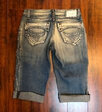 Robin's Jean sz 28 CHIC Destroyed Festival Chic Light Denim Cropped Capri Jeans
