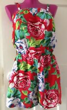 Ladies Shorts Playsuit Size 8-10 In Red Floral Design