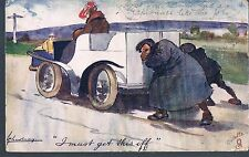 TUCK WAYS OF MOTORS POSTCARD - I MUST GET THIS OFF 1908 -1/6 IN SET - L THACKERY