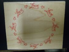 RETIRED Hero Arts Large Rubber Stamp LOVE repeated in a CIRCLE Unique Wedding ++