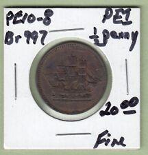 "Prince Edward Island ""SHIPS COLONIES & COMMERCE"" 1/2 Penny Token - PE10-8 - Fine"