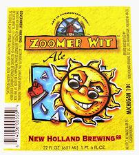 New Holland Brewing ZOOMER WIT ALE beer label MI 22oz SUNGLASSES - Var. #3