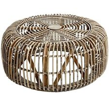 THE BALI COLLECTION FULL RATTAN ROUND COFFEE TABLE - ONE OF TWO COFFEE TABLES