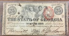 1863 Georgia-CR-15B-25c fractional note RED seal Civil War Smith/McClary