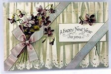 1900's Vintage Unposted  Flowers Ribbon A Happy New Year Holiday Postcard