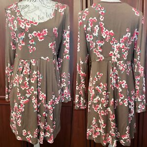 Joules Floral Print Tunic Dress UK 14 Scoop Neck Long Sleeves
