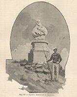 A1221 Caprera - Monumento di Garibaldi - Xilografia Antica del 1895 - Engraving