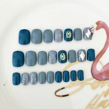 Rhinestone False Artificial Nails Blue Shiny Colorful Matte Press On Nail Decors