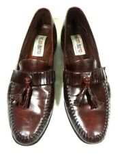 MARIO BRUNI ITALY LOAFERS TASSEL BURGUNDY LEATHER SHOES MENS SIZE 9.5 M