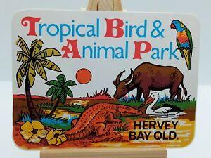 VINTAGE TROPICAL BIRD & ANIMAL PARK HERVEY BAY QLD UNUSED STICKER