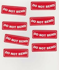 "Lot of 24 Do Not Bend Stickers Red White Lettering 2 7/8"" x 1"" Free Shipping"