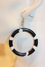 Ohrhänger NEU Ohrring schwarz weiß rund Kreis Kunststoff Modeschmuck style
