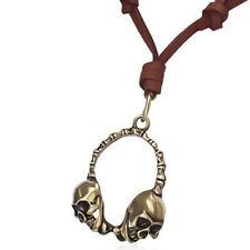 Para hombres Cuero Marrón Dorado CALAVERA AURICULARES Ajustable Collar