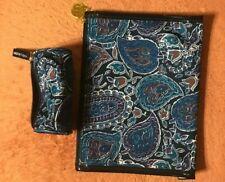 Estee Lauder Blue Paisley Cosmetic Bag & Lipstick Pouch