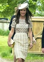 Tory Burch Adelaide Poundcake Seahorse Embroidered Royal Dress UK 8 / US 4