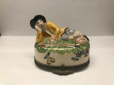 Antique French Limoges Peint Main Hand Painted Shepard & Lamb Trinket Pill Box