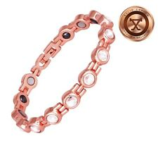 WOMENS MAGNETIC SOLID COPPER BRACELET WITH HEMATITE ARTHRITIS RELIEF 7.50 INCHES