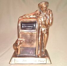 Vintage Brass Mailman Piggy Bank Delivering The Mail Made in U.S.A.