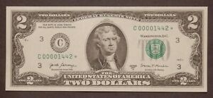 2017 A  UNCirculated 2$ Dollar STAR note ULTRA LOW SN# C 00001442 *