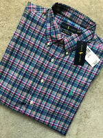 RALPH LAUREN BLUE CLASSIC FIT CHECK S/S SHIRT TOP USA MODEL - XL - NEW & TAGS