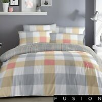 Fusion BARCELONA Checked Bedding Set - Reversible Duvet Cover Yellow Grey Orange