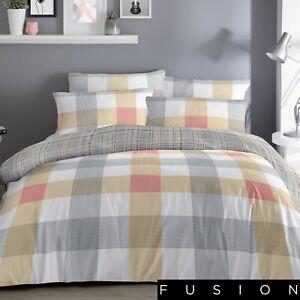 Fusion BARCELONA Checked Bedding Set - Reversible Duvet Cover Yellow Grey Orange